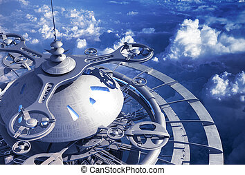 Futuristic Flying Station Above The Clouds