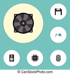 Flat Icons Presentation, Computer Mouse, Cooler And Other...