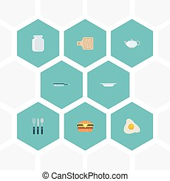 Flat Icons Teapot, Breadboard, Fast Food And Other Vector...