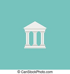 Flat Icon Courthouse Element. Vector Illustration Of Flat Icon Bank Isolated On Clean Background. Can Be Used As Bank, Courthouse And Building Symbols.