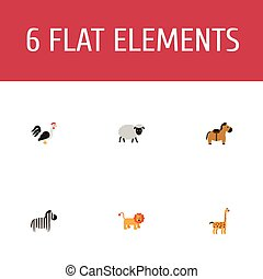 Flat Icons Rooster, Mutton, Wildcat And Other Vector Elements. Set Of Zoology Flat Icons Symbols Also Includes Giraffe, Bird, Horse Objects.