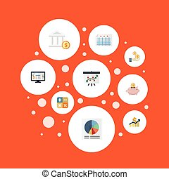 Flat Icons Accounting System, Algebra, Tactics And Other Vector Elements. Set Of Registration Flat Icons Symbols Also Includes File, Increase, Dollar Objects.