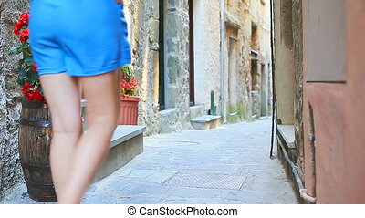 Beautiful girl having fun during holidays in Cinque Terre....