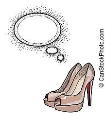 high heeled shoes-100 - Cartoon image of high heeled shoes....