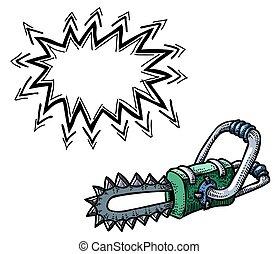 chainsaw-100 Cartoon image - Cartoon image of chainsaw. An...
