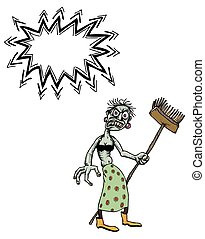 undead monster lady cleaning-100 - Cartoon image of undead...