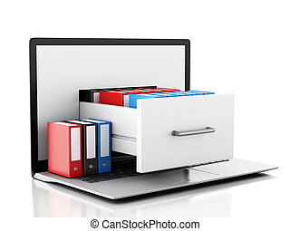 Data storage. Laptop and files 3d