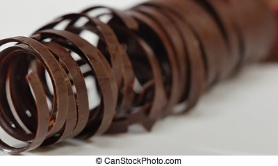 Sweet tubes - dessert. Chocolate tube for decoration,...