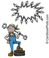 female mechanic-100 Cartoon image - Cartoon image of female...