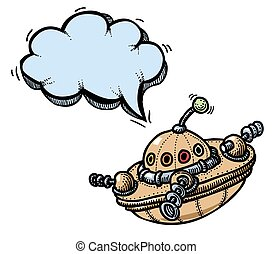 flying saucer - Cartoon image of flying saucer. An artistic...
