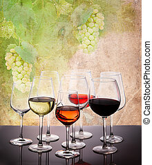 Set of glasses with wine