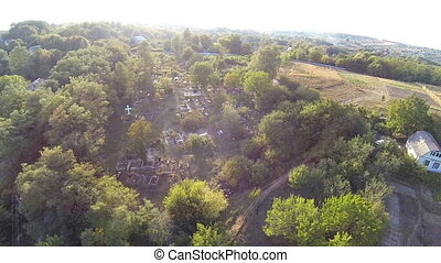 Aerial view of the old village in Ukraine
