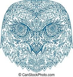 Snowy Owl Head Mandala - Illustration of head of Snowy Owl...