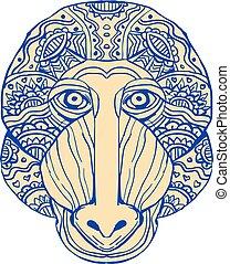 Mandrill Head Front Mandala - Illustration of a Mandrill...