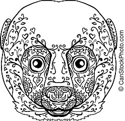 Lemur Head Mandala - Illustration of a Lemur Head front view...