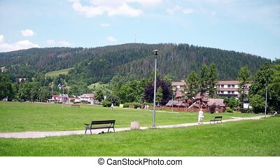 Travelling shot of Zakopane and the Tatra mountains in...