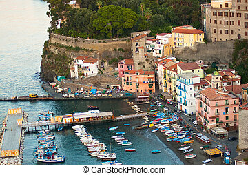 Amalfi Marina - Aerial view of a marina along the coast