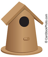 Wooden bird house oval shape - The wooden bird house of the...