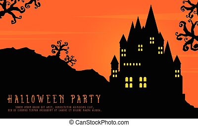 Halloween with scary castle landscape background