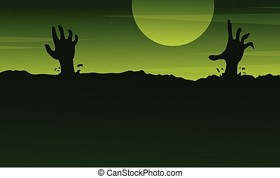 Halloween with zombie landscape on green background