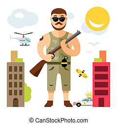 Vector Gunman with rifle. Flat style colorful Cartoon...