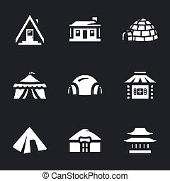 Vector Set of Buildings Icons. - Camping, hut, needle, tent,...