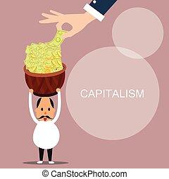 capitalism man bring lot of money capital concept