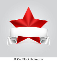 Red star with white ribbon on gray background. Volumetric metal star with reflections and shadows. Symbol of victory in competitions or contests, template for your design. 3D illustration.