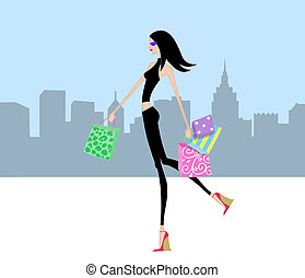 Chic Girl Walking With Shopping Bags in the City
