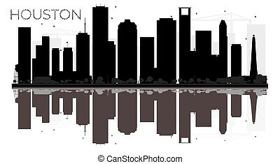 Houston City skyline black and white silhouette with reflections.
