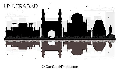 Hyderabad City skyline black and white silhouette with...