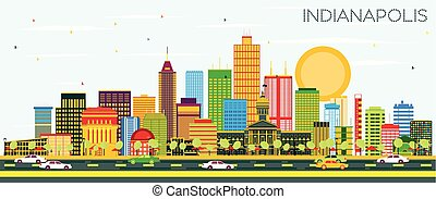 Indianapolis Skyline with Color Buildings and Blue Sky.