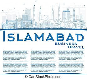 Outline Islamabad Skyline with Blue Buildings and Copy...