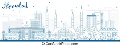 Outline Islamabad Skyline with Blue Buildings. Vector...