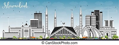 Islamabad Skyline with Gray Buildings and Blue Sky. Vector...