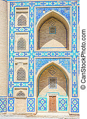 Madrassa in Bukhara, Uzbekistan - Blue tiles and mosaic of...