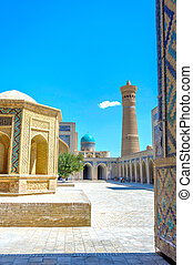 Kalyan mosque, Bukhara - Atrium and minaret of Kalyan...