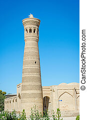 Minaret, Bukhara - Minaret with the stork, Bukhara,...