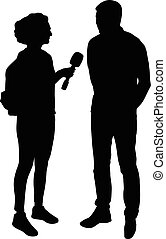 interview silhouette vector