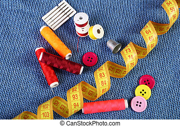 sewing supplies close up - Colorful sewing supplies close up