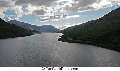 Flying over Loch Leven towards Glencoe, Lochaber, Scotland