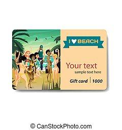 Summer party. Young women in bikini dancing at a disco on the beach at sunset. Sale discount gift card. Branding design to the resort