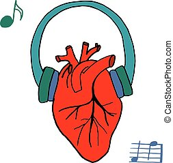 Human heart with headphones and music notes. The concept of street style. Vector isolated image. Handmade.