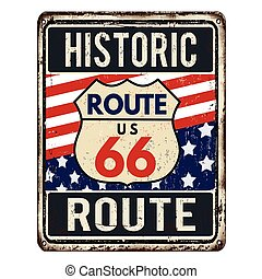 Route 66 vintage rusty metal sign