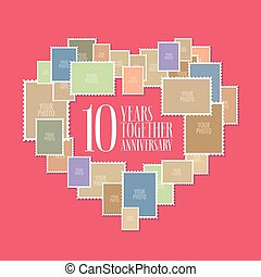 10 years of wedding or marriage vector icon, illustration....