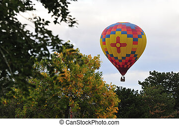 Albuquerque NM hot air balloon over fall colors