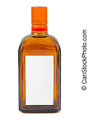 Bottle with blank label isolated on white background