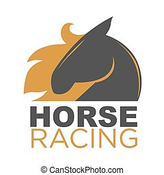 Horse racing emblem - Vector illustration of horse with red...