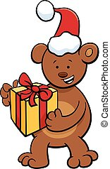 bear with gift on Christmas time - Cartoon Illustration of...