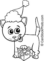 kitten on Christmas time coloring page - Black and White...